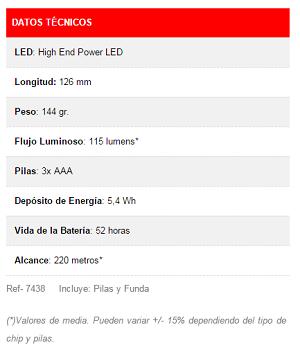 Especificaciones técnicas linterna LED LENSER Hokus Focus