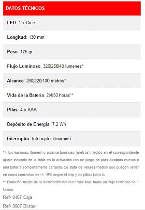 Especificaciones Técnicas Led  Lenser P7.2