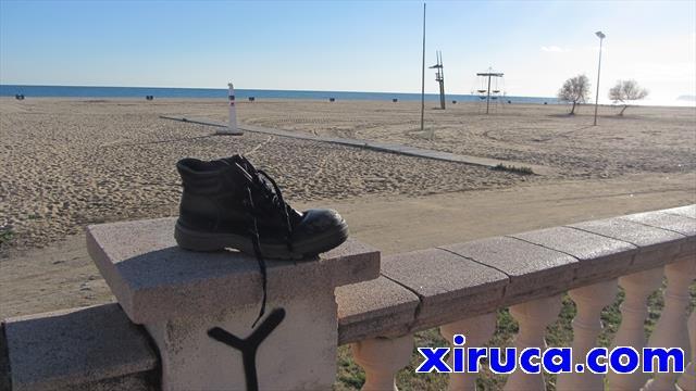 Xiruca en la playa de Ocata