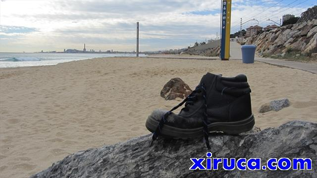 Xiruca en la playa de Montgat
