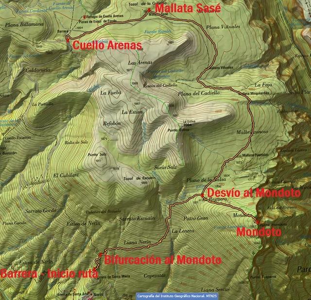 Croquis de la ruta Nerín - Mondoto - Cuello Arenas