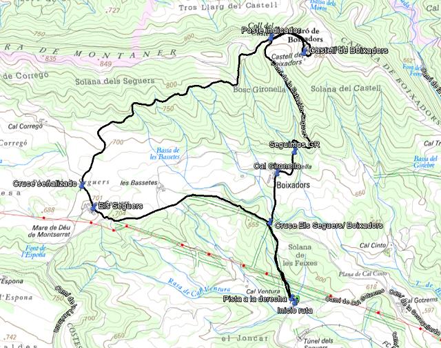 Croquis de la ruta al Castell de Boixadors