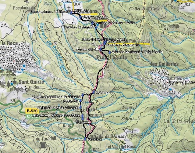 Croquis de la ruta a la Creu de Montagut - Enclusa