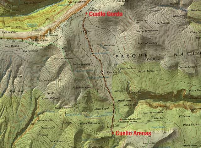 Croquis de la ruta Cuello Arenas - Cuello Gordo