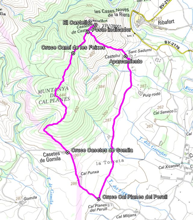 Croquis de la ruta a El Castellot