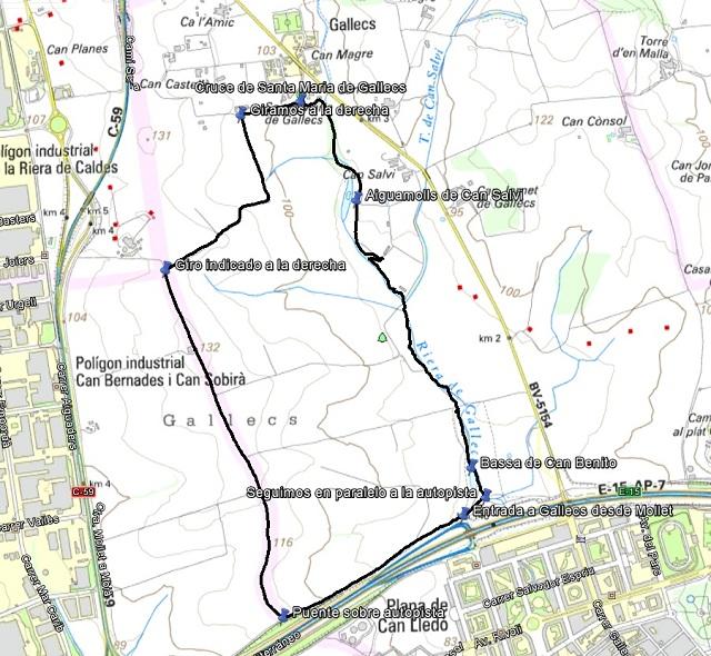 Croquis de la ruta por Gallecs
