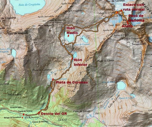 Croquis de la ruta al Aneto por Coronas