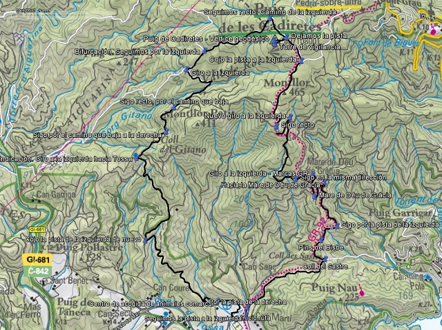 Croquis de la ruta al Puig de Cadiretes