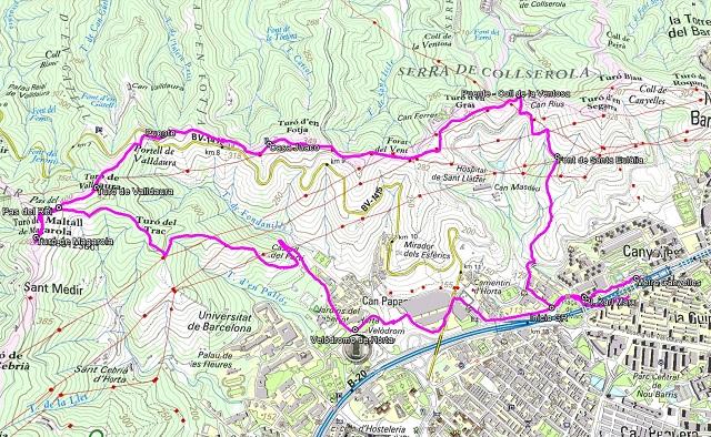 Croquis de la ruta al Turó de Magarola