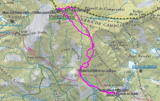 Croquis de la ruta al Puigpedrós