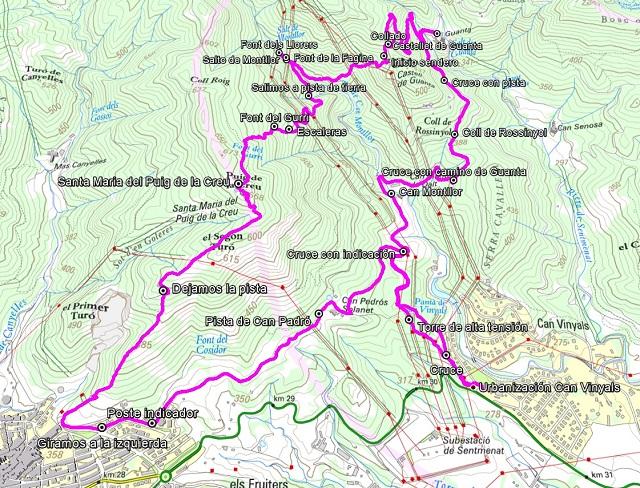 Corquis de la ruta a Guanta y al Puig de la Creu desde Sentmenat