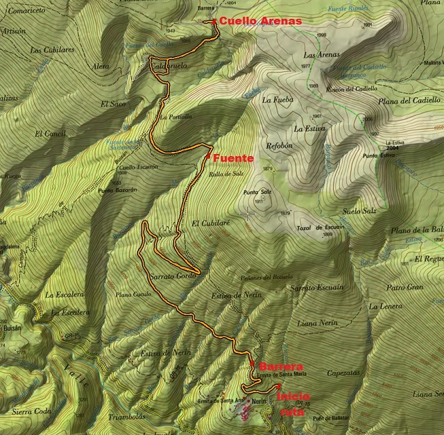 Croquis de la ruta Nerín - Cuello Arenas