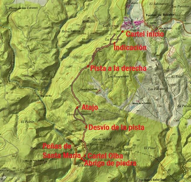 Croquis de la ruta a las Peñas de Santa María