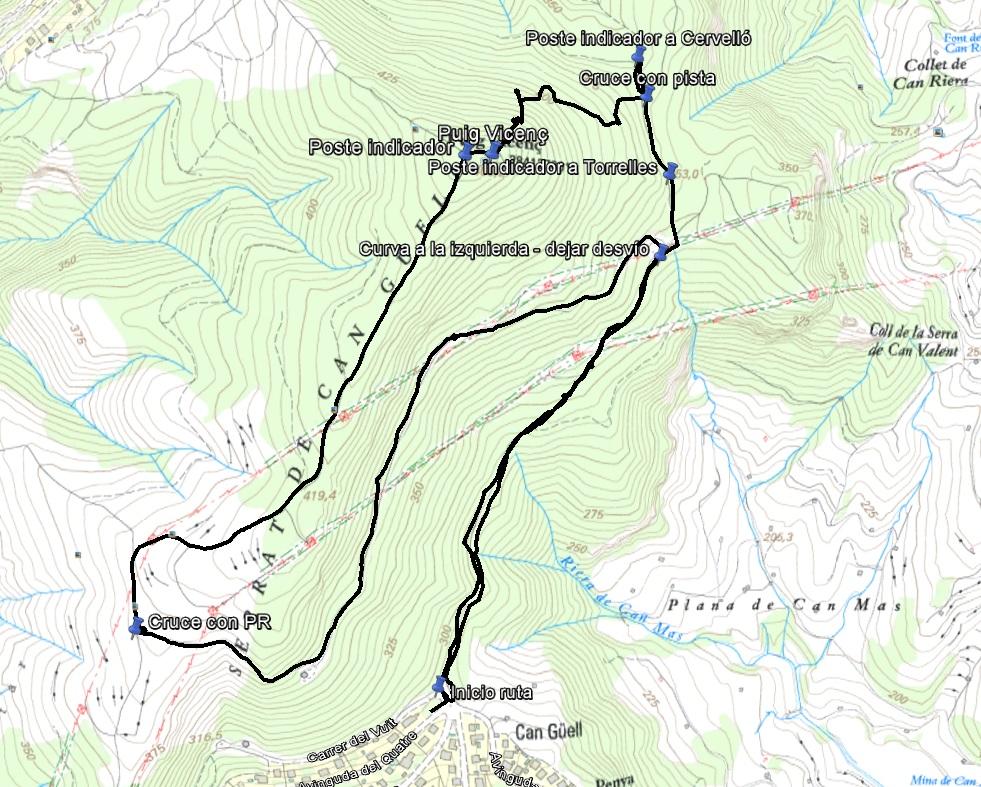 Croquis de la ruta al Puig Vicenç con waypoints