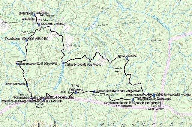 Croquis de la ruta al Turó Gros con waypoints