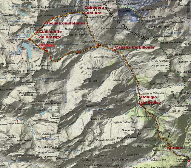 Croquis de la ruta circular Bujaruelo-Batanes-Bazias