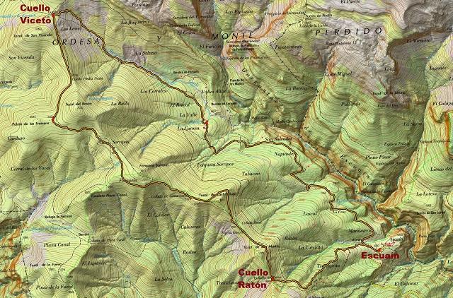 Croquis de la ruta circular de Escuaín a Cuello Viceto