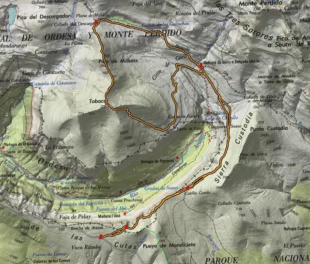 Croquis de la ruta a  la Punta Tobacor