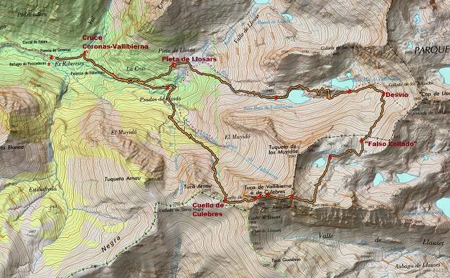 Croquis de la ruta al Vallibierna, al Paso del Caballo y a la Tuca de las Culebras