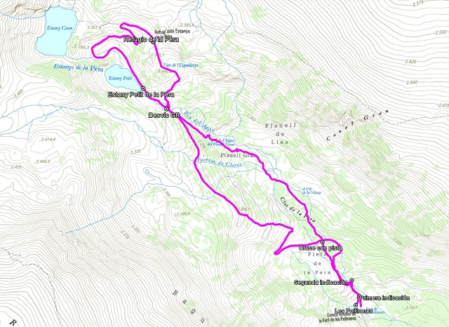 Croquis de la ruta al Refugio y als Estanys de la Pera
