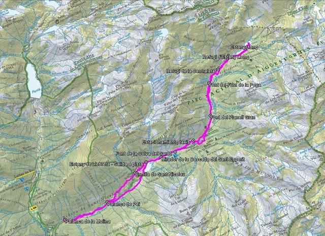 Croquis de la ruta al Estany Llong y al Estany de Llebreta