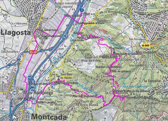Croquis de la ruta a Sant Cebrià de Cabanyes, Turó de les Maleses y Sant Pere de Reixac