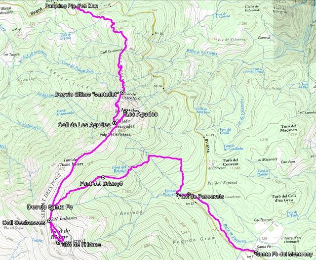 Croquis de la ruta a Les Agudes por Castellets