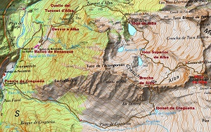 Croquis de la ruta al Pico de Alba