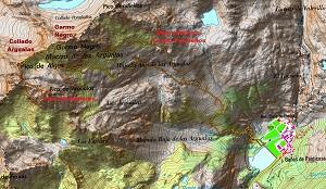 Croquis de la ruta a los picos de Algas, Argualas y Garmo Negro