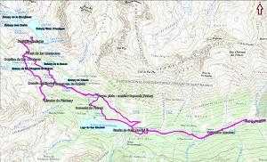 Croquis de la ruta a los Estanys d'Amitges