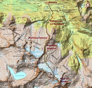 Croquis de la ruta al Aneto por La Renclusa