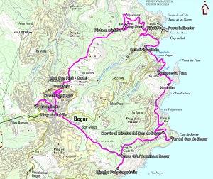 Croquis de la ruta circular desde Begur