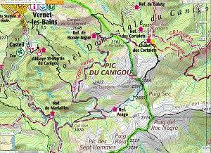 Croquis de la ruta circular al Canigó