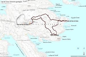 Croquis del itinerario geológico al Cap de Creus