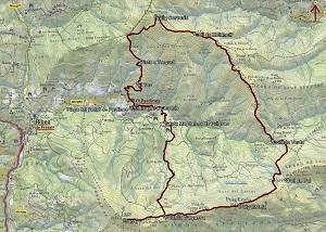 Croquis de la ruta al Puig Cerverís, Puig Estela y Taga