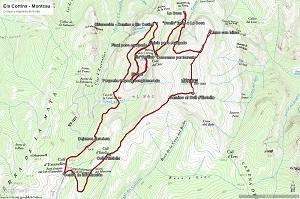Croquis de la ruta a Els Cortins y al Montcau