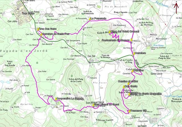 Croquis de la ruta al Croscat y al Santa Margarida