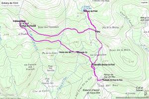 Croquis de la ruta al Estany de l'Orri