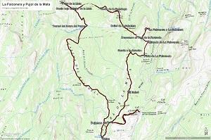 Croquis de la ruta a La Falconera y al Pujol de Mata