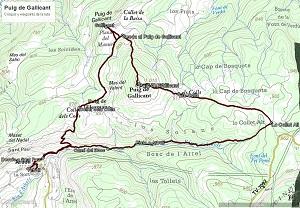 Croquis de la ruta al Puig de Gallicant desde Arbolí