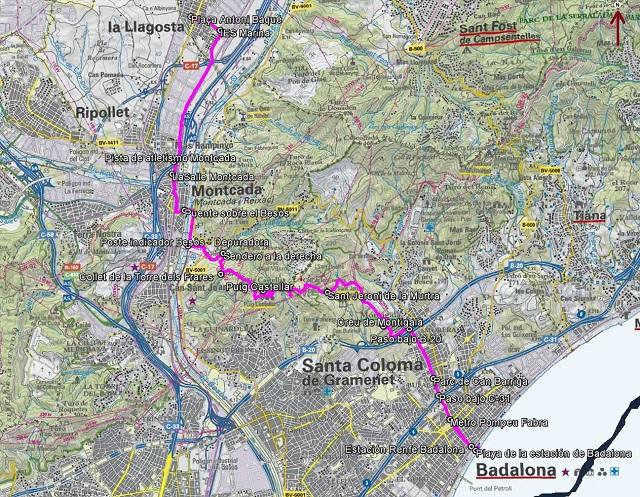 Croquis de la ruta de La Llagosta a Badalona por el Puig Castellar