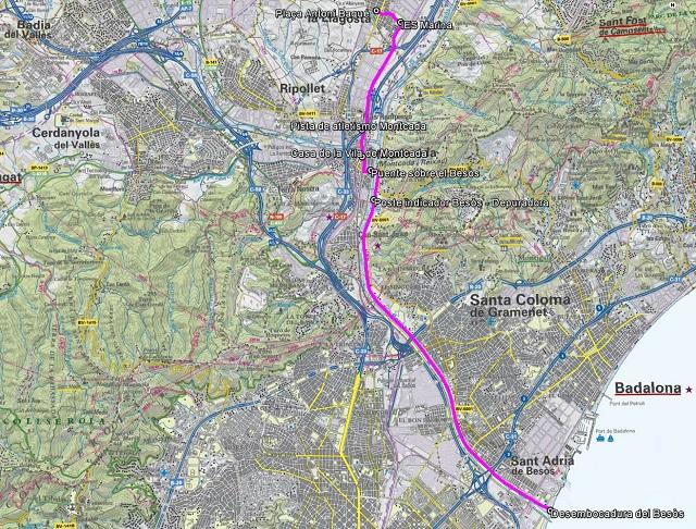 Croquis de la ruta de La Llagosta a la desembocadura del Besòs