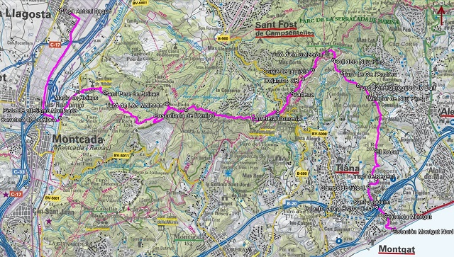 Croquis de la ruta de La Llagosta a Montgat por el Turó de les Maleses y el Turó d'en Galzeran