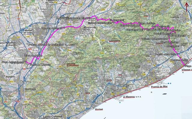 Croquis de la ruta de La Llagosta a Cabrera de Mar por Castell de Burriac