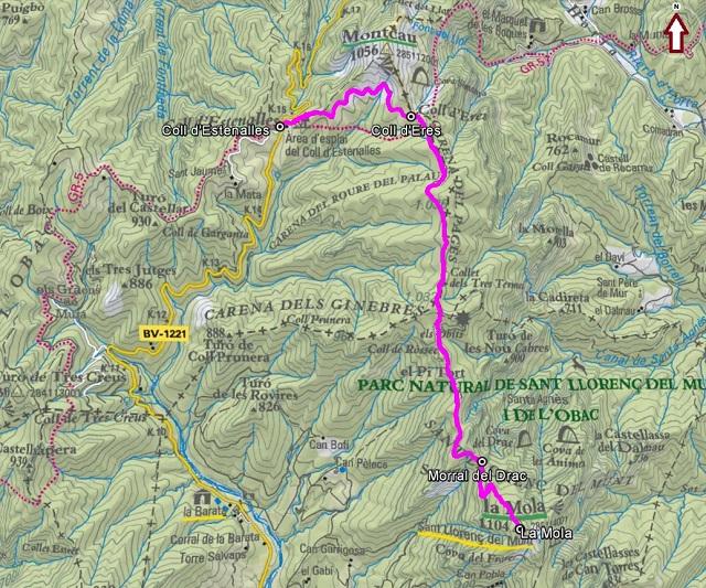 Croquis de la ruta a La Mola desde el Coll d'Estenalles