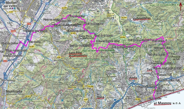 Croquis de la ruta de La Llagosta a Ocata por Castellruf y Sant Mateu