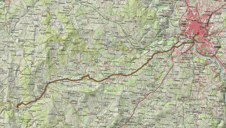 Croquis de la ruta de Lugo a Vilamaior de Negral