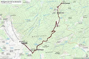 Croquis de la ruta al Matagalls por Coll de Bordoriol