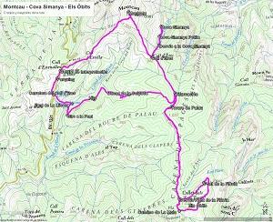 Croquis de la ruta al Montcau, la Cova Simanya y Els Òbits