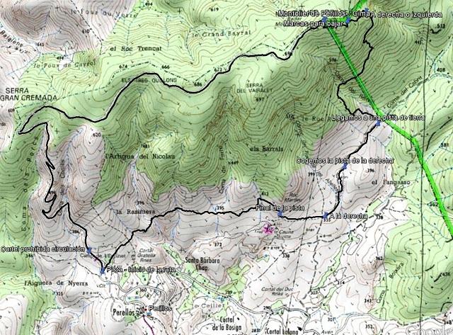 Croquis de la ruta al Montolier de Périllos